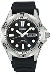 Seiko Men's SNE107P2 Rubber Analog with Black Dial Watch