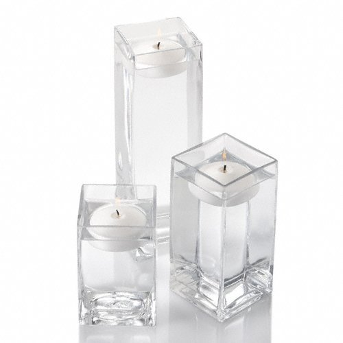 Set of 18 Eastland Square Vases and 18 White Richland Floating Candles 3'' by Richland
