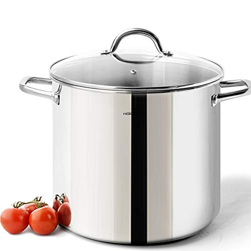 HOMi CHEf Commercial Grade Stainless Steel Stock Pot 20 Quart With Lid/Nickel Freee Stainless Steel Non Toxic Cookware Stockpot 20 Quart/Large Heavy Duty Stock Pots For - Stainless Gallon Steel Pot 5