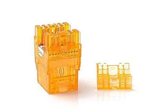 CAT5e RJ45 Transparent Unshielded Keystone Jacks Module for Faceplate & Wall Box & Patch Panel 5pcs/pack (Orange) (Faceplate Blue Color Transparent)