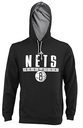 (Mens Adidas NBA Tipoff Playbook Pullover Hoodie, Brooklyn Nets, Black)
