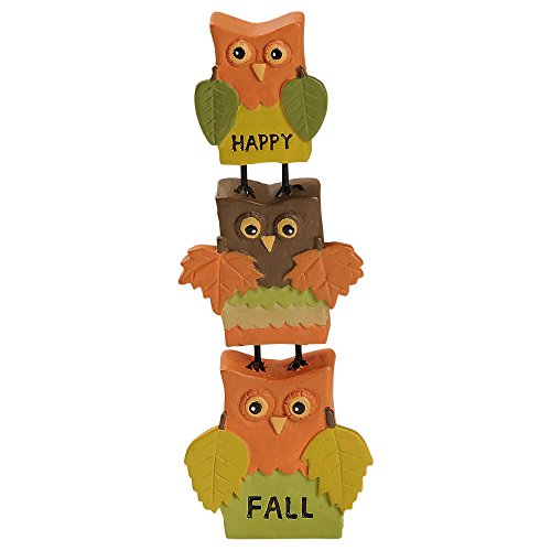 Blossom Bucket Happy Fall Stacked Owls Leaf Wings 4 x 1 Inch Resin Stone Harvest Tabletop Figurine Décor