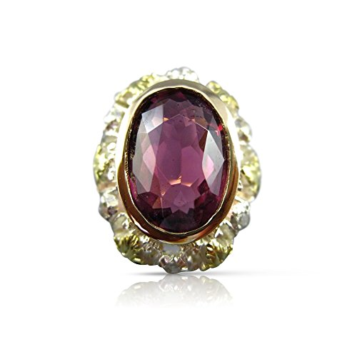 - Milano Jewelers LARGE 4.25CT ROSE CUT DIAMOND & TOURMALINE 14KT TWO TONE GOLD RING 25485