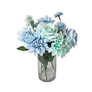 Rae's Garden Artificial Flowers Realistic Fake Flowers Silk Rose Dahlia Daisy Flower Bouquet Bride Bridesmaid Holding Flowers for Wedding Party Kitchen Home Decorations (DL_Blue) 46
