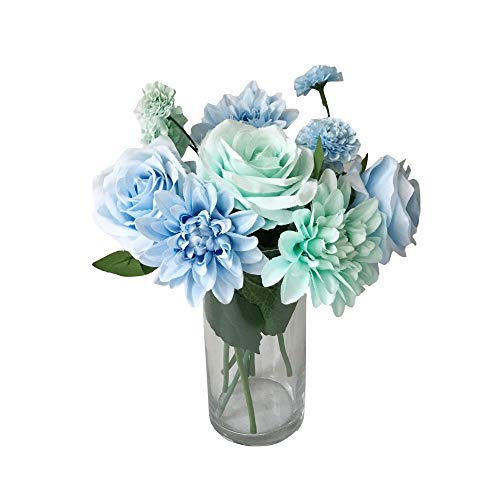 Rae's Garden Artificial Flowers Realistic Fake Flowers Silk Rose Dahlia Daisy Flower Bouquet Bride Bridesmaid Holding Flowers for Wedding Party Kitchen Home Decorations (DL_Blue)