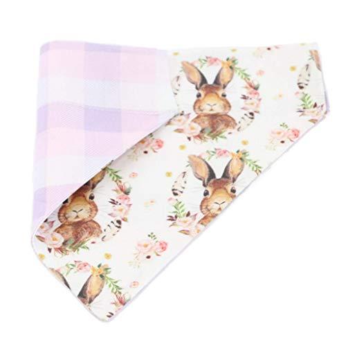 Dog Bandana Bunny Wreath Easter Rabbit, Choice of Bandana Over Collar, Tie on or Snap, Size -