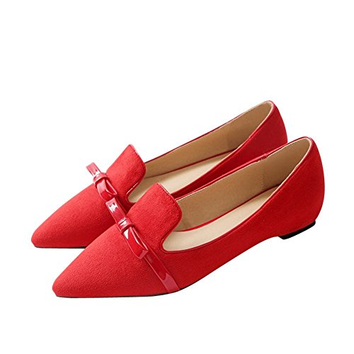 Carolbar Femmes Sexy Grâce Mode Bout Pointu Manchette Arcs Bas Talon Robe Mocassins Chaussures Rouge