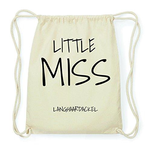 JOllify LANGHAARDACKEL Hipster Turnbeutel Tasche Rucksack aus Baumwolle - Farbe: natur Design: Little Miss K66ZOEP5