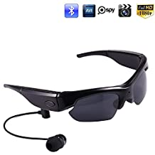 Jiusion 16GB Hidden Polarized Sports Sunglasses Camera HD 1080P Bluetooth 4.0 Spy Cam Glasses for iPhone Android Phones - Hand-free Phone Call Enjoy Stereo Music