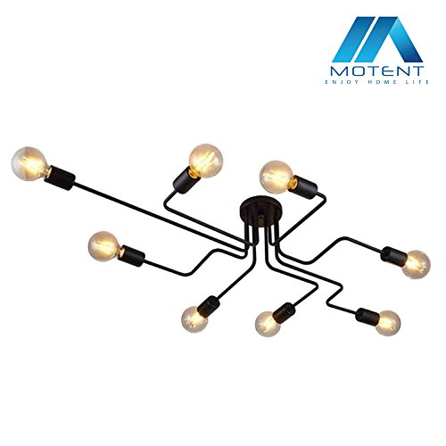Vintage Spider Ceiling Lamp, Motent Industrial Antique Metal Semi Flush Mount Chandelier Modern Iron Wrought Black Painted Light Fixture with 8 E26 Sockets for Kitchen Studio Parlor - 27.1 inches Dia