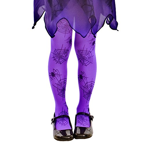 Purple Spiderweb Tights | Kids Halloween Spider Costume & Dress Up Stockings (Large)