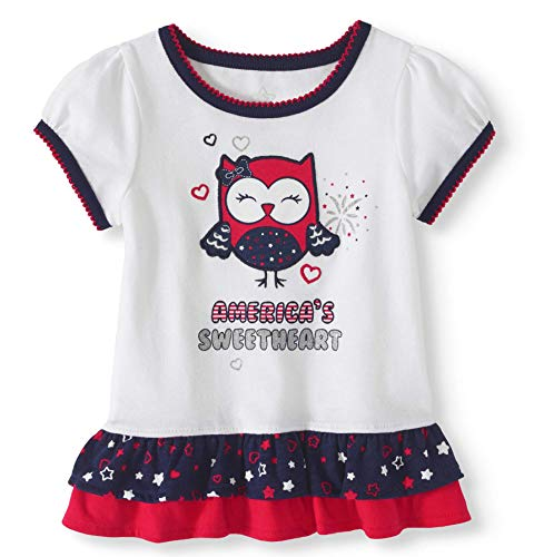 Infant Baby and Toddler Girls Soft Knit Americana USA Theme Separates (Glitter Trim America's Sweetheart Owl Top, 18 mo.)