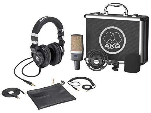 (AKG C214 Studio Condenser Microphone Recording Mic+Samson Lambskin Headphones)