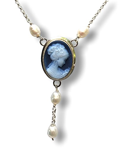 DiVinci Flora Blue Agate Cameo and Freshwater Pearl Necklace