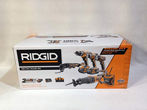 Ridgid 18-Volt Lithium-Ion Cordless 6-Tool Combo Kit with (2) Batteries, (1) 18-Volt Charger, and Contractor's Bag