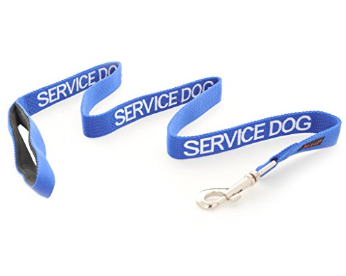 SERVICE DOG Blue 2ft 4ft 6ft Padded Dog Leash PREVENTS Accidents By Warning Others of Your Dog in Advance (4ft) by Dexil Limited