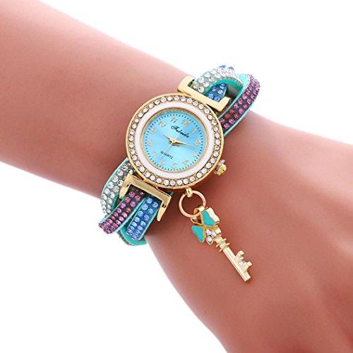 Price comparison product image AMA(TM) Women Fashion Wrap Around Padlock Diamond Leather Bracelet Wrist Watch (Light blue)