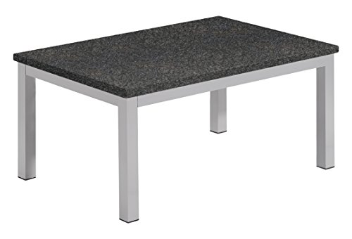 Granite Top Patio Furniture (Oxford Garden TVTAL Powder Coated Aluminum Frame Lite-Core Granite Charcoal Top Travira Coffee Table)