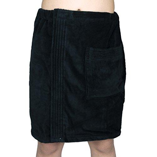 Men's 100% Turkish Cotton Towels Terry Velour Body Wrap Bath Spa Towel with Adjustable Velcro (Black)