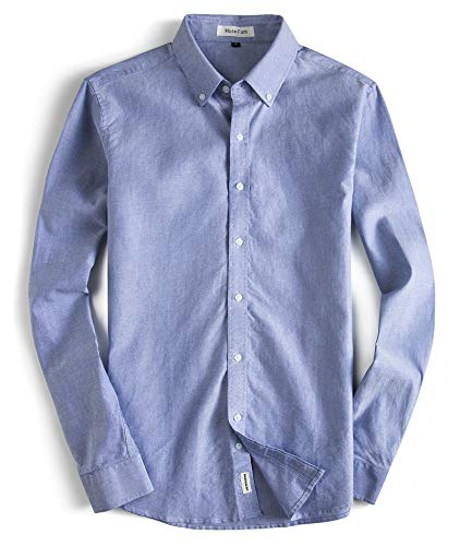 MUSE FATH Men's Oxford Dress Shirt-Cotton Casual Long Sleeve Shirt-Button Down Point Collar Shirt-Light Blue-L