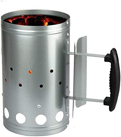 LIVIVO Barbecue BBQ Chimney Charcoal Starter Lighting Kit Light Quickly Barbeque BBQ Lighter SILVER