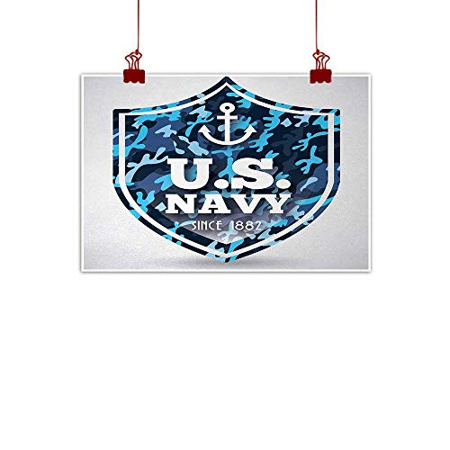 Sunset glow Canvas Wall Art Anchor,Military Camouflage with US Navy Since 1882 Uniform Army Force Ship,Blue White Navy Blue 32