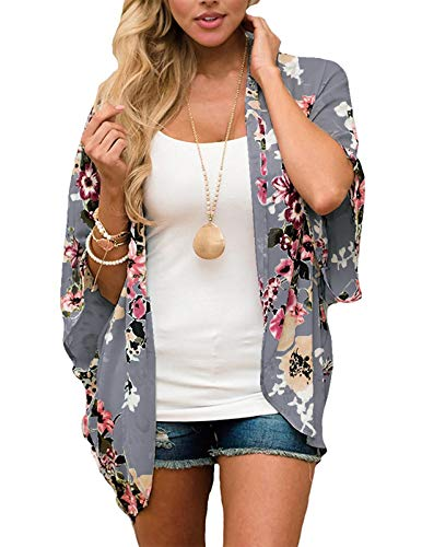 Women's Sheer Chiffon Blouse Loose Tops Kimono Floral Print Cardigan Dark Grey S
