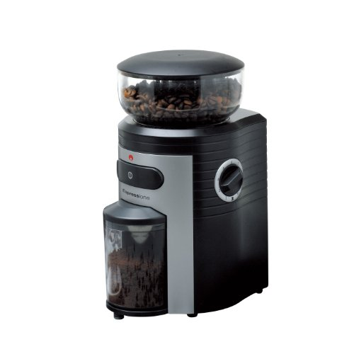 (Espressione Professional Conical Burr Coffee Grinder, Black/Silver)