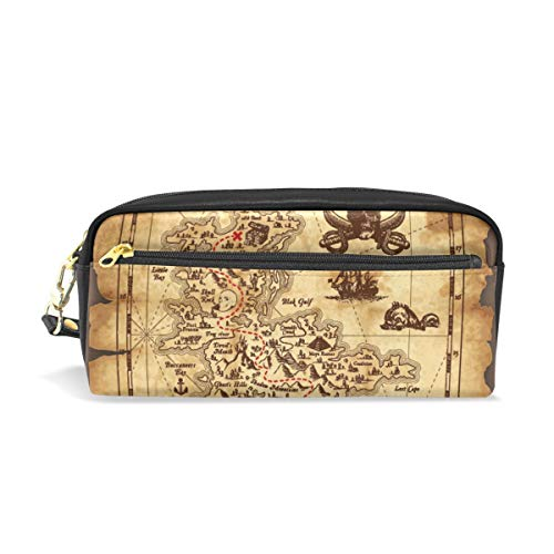 - Pencil Bag Pouch Nautical Map Pirate Skull Pen Case Holder with Compartments for School Student Women Cosmetic Bags Leather