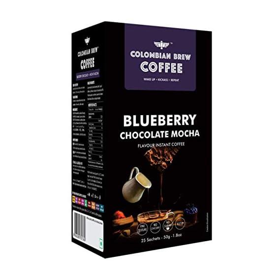 Colombian Brew Coffee Blueberry Chocolate Mocha Instant Coffee, Vegan, No Sugar - 50gm
