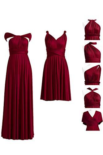 72STYLES Burgundy Infinity Dress with Bandeau, Convertible Dress, Bridesmaid Dress, Long,Short, Plus Size, Multi-Way Dress, Twist Wrap Dress