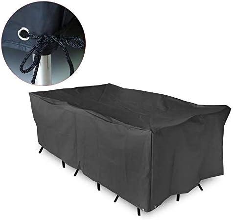 家具ダストカバー 防水性と防塵テーブルとチェアソファカバー屋外ガーデンテラスの家具カバーバーベキュー保護カバー100%防水 優れた汎用性 (色 : Black, Size : 200x160x70cm)