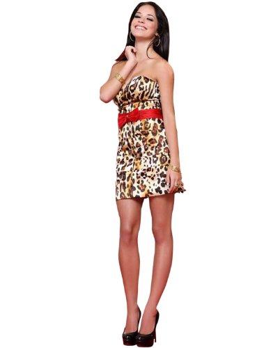 Scala Short Print Dress 17029, Red Leopard, 2