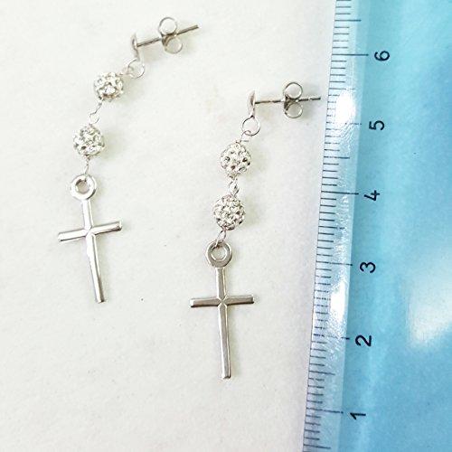 Boucles d'oreilles pendantes avec croix en or blanc 18cts 750et zirconium gr.2,20