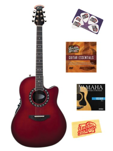 Ovation 2077AX-CCB Pro Legend Deep Contour Cutaway Acoustic-Electric Guitar Bundle with Hardshell Case, Instructional DVD, Strings, Pick Card, and Polishing Cloth - Cherry Cherry Burst -