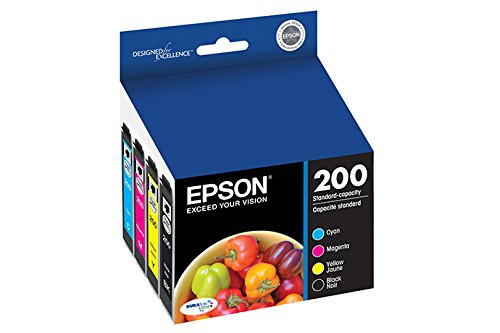 Inkjet Cartridge Magenta Model (Epson DURABrite Ultra 200 Original Ink Cartridge Combo Pack Cyan, Magenta, Yellow, Black Model T200120-BCS)