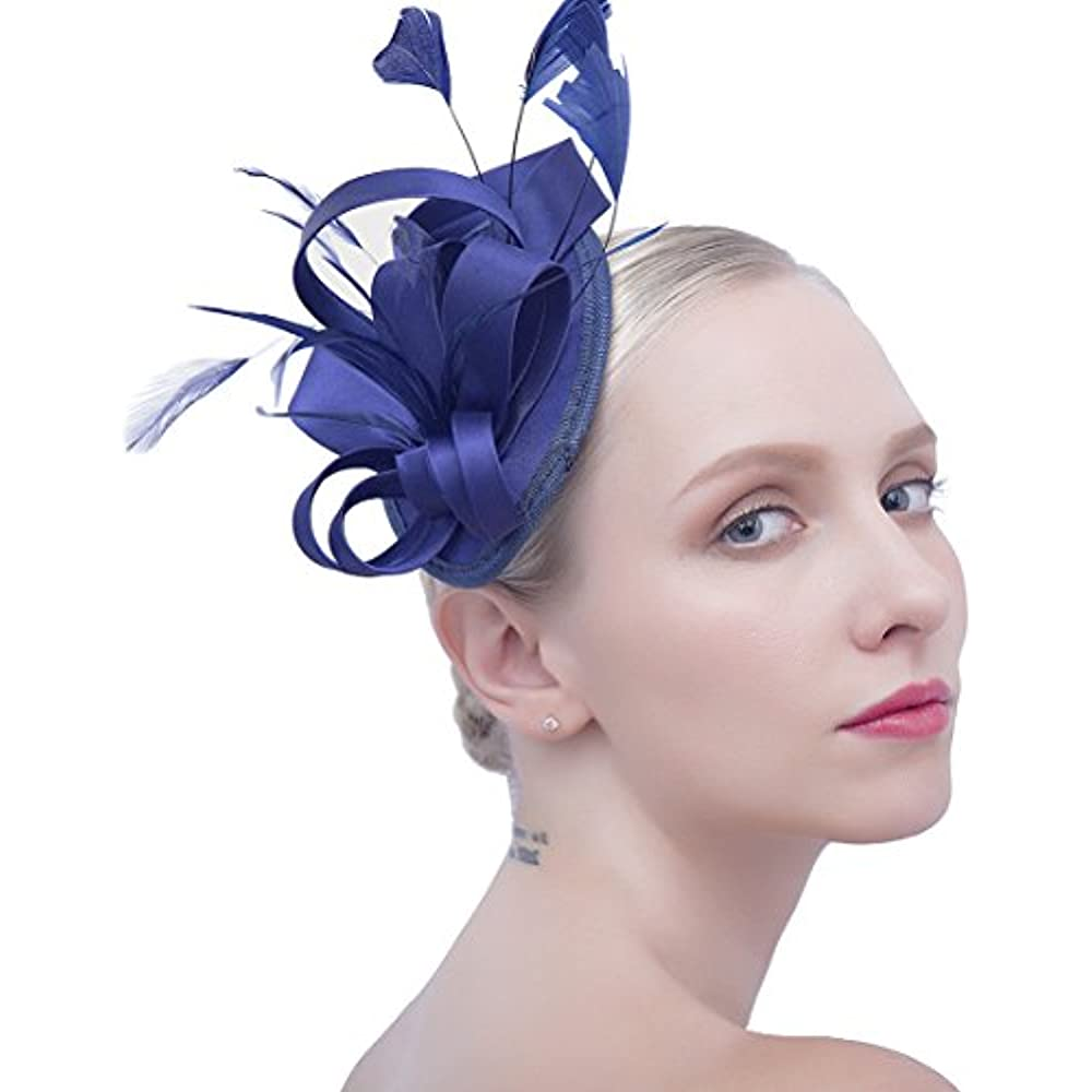 93f6d837 Felizhouse Fascinator Hats for Women Ladies Feather Cocktail Party Hats  Bridal Headpieces Kentucky Derby Ascot Fascinator Headband (1 Satin Navy  Blue) ...