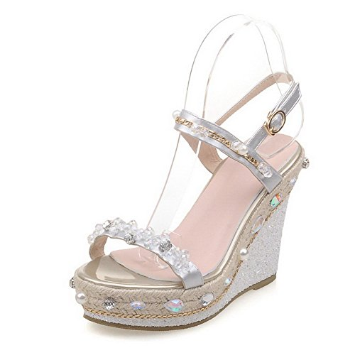 AgooLar Women's High Heels Solid Buckle Open Toe Sandals Silver ouhZGfG1lI