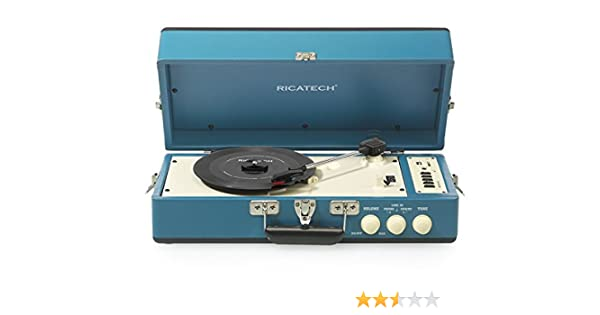 Ricatech RT98 Tocadiscos Vintage USB SD AUX Azul: Amazon.es ...