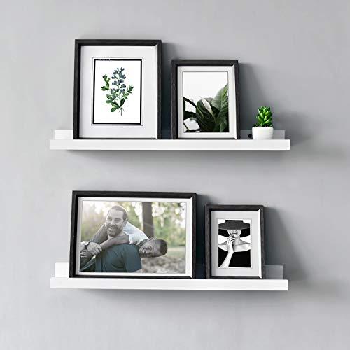 Vista Photo Ledge Floating Wall Shelf, 24-inch, Set of 2, White