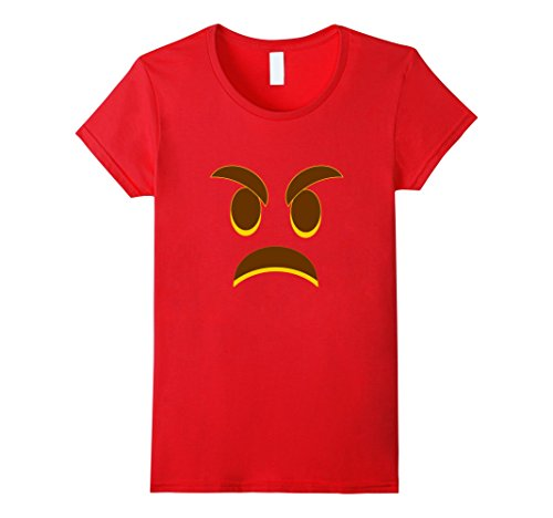 (Womens Halloween Angry Emoji Shirt Great Costume for Red Angry Face Large)