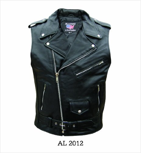 Men's AL2012 Basic Sleeveless Motorcycle Jacket 44 Black by Allstate Leather