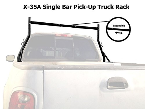AA-Racks Model X35-A Universal Single Bar Pickup Truck Utility Ladder Rack Matte Black