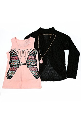 Big Girls 3 Piece Set - Butterfly Tank Cardigan Sweater and Necklace Pink S