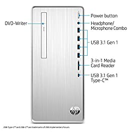 HP Pavilion Desktop Computer, Intel Core i5-9400, 12GB RAM, 1TB Hard Drive, 256 GB SSD, Windows 10 (TP01-0050, Silver…
