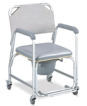 MedMobile Aluminum Portable Commode Shower Wheelchair With Toile