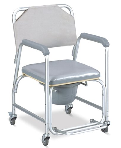 MedMobile® Aluminum Portable Commode Shower Wheelchair With Toilet Style Seat and Cover