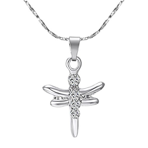ptk12 Hot Sale Rhodium Plated Animal Dragonfly Pendants Necklaces with AAA Austrian Crystal by ptk12