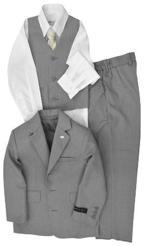Johnnie Lene Dress Up Boys Designer Suit Set JL5016 (18 Months, Silver ()