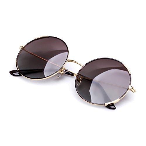 Vintage Polarized Sunglasses Light Metal Frame Mirror Lens UV400 for Women - Frame Light Grey Shaded Lenses
